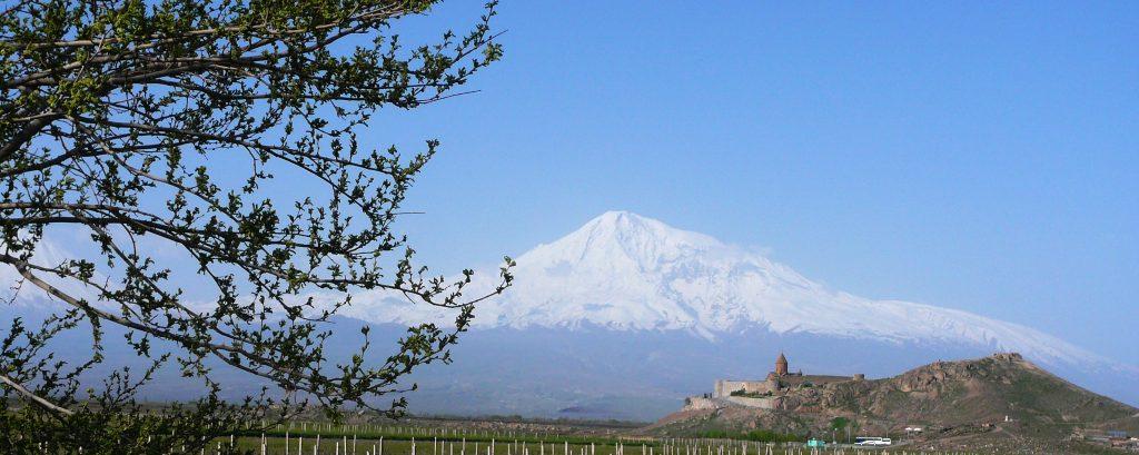 Mount Ararat and Khor Virap Monastery in Armenia