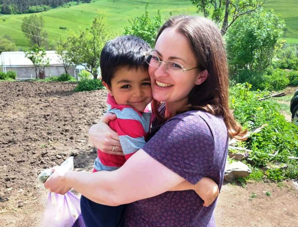 A sponsor meets her sponsored child in Armenia