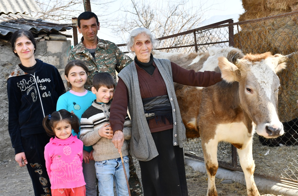 Family with cows